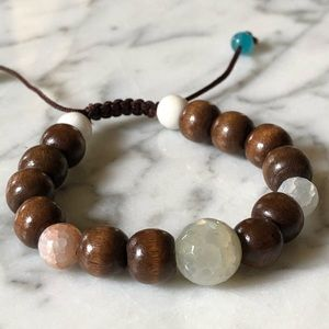 🔥 Natural Stone and Wood Beaded Bracelet